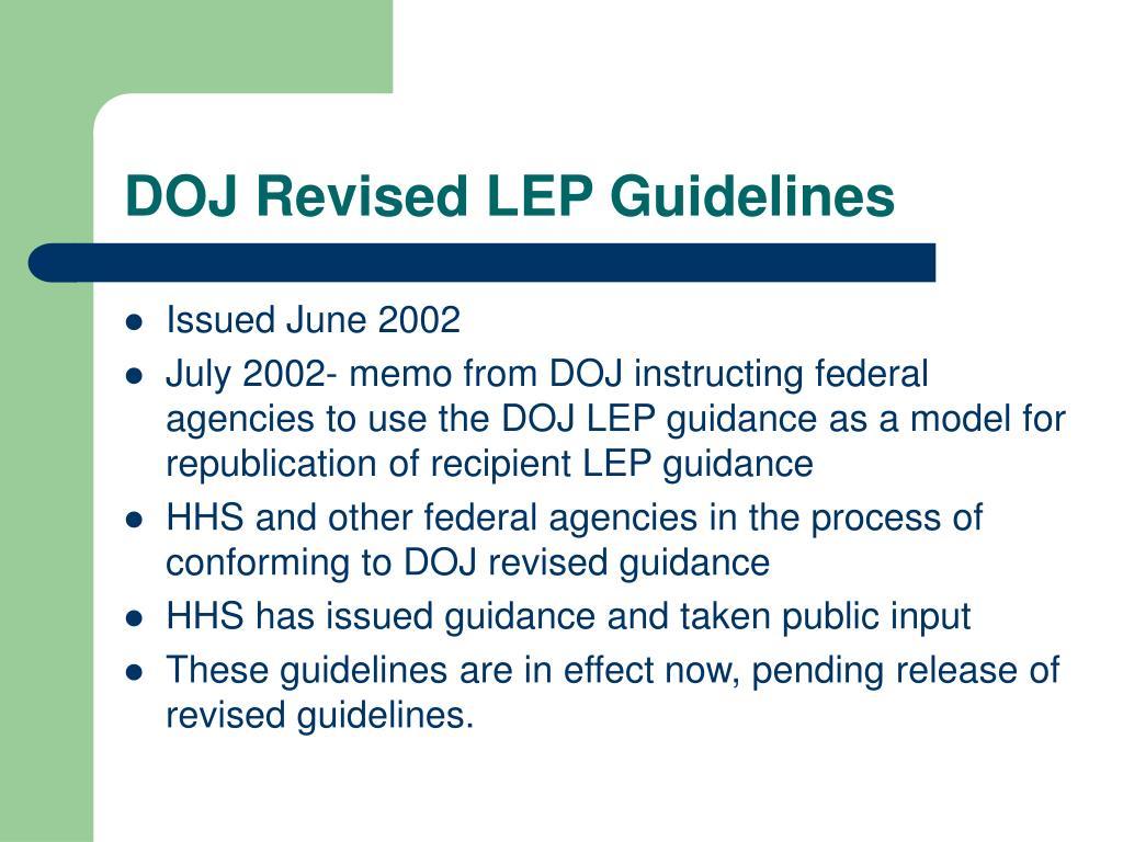 DOJ Revised LEP Guidelines