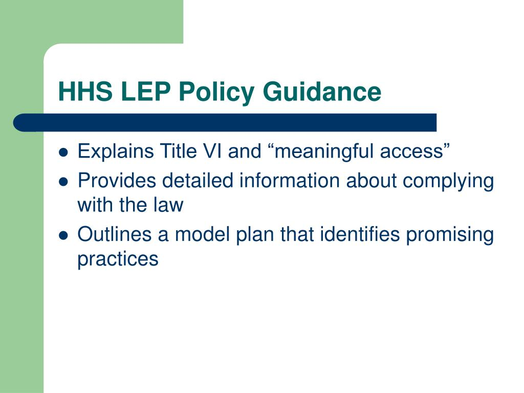 HHS LEP Policy Guidance