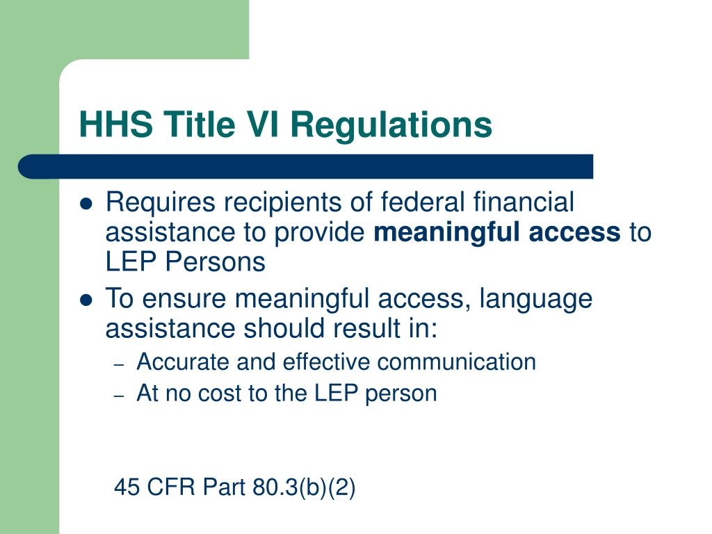 HHS Title VI Regulations