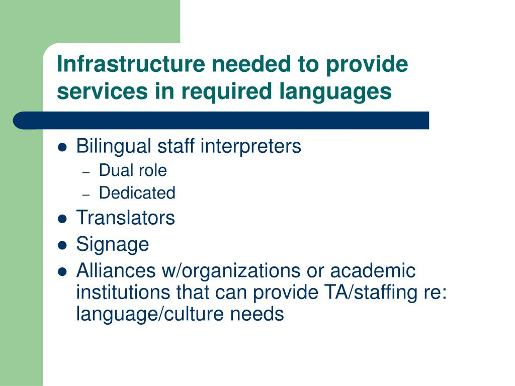 Infrastructure needed to provide services in required languages