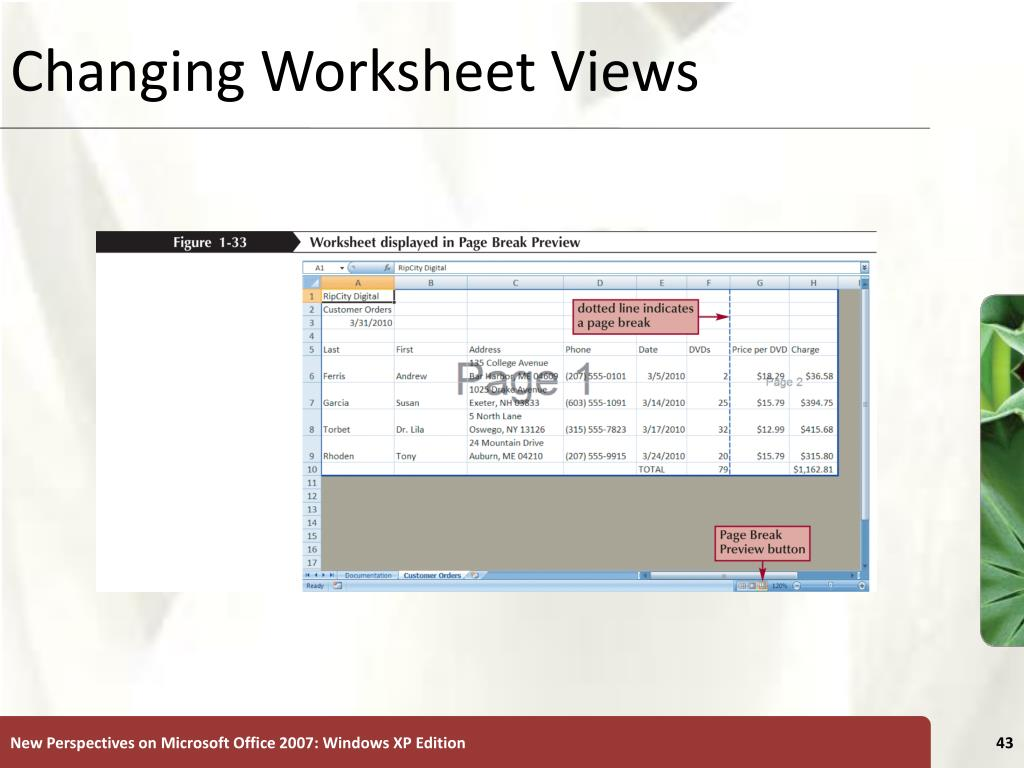Changing Worksheet Views