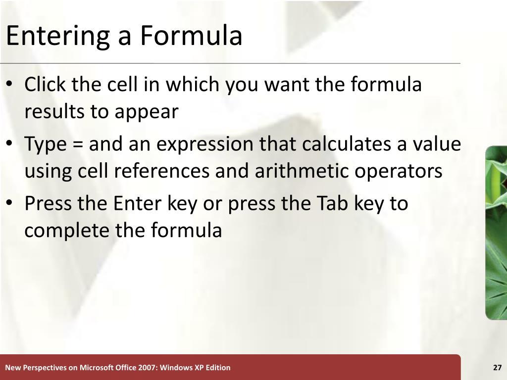 Entering a Formula