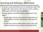 inserting and deleting a worksheet