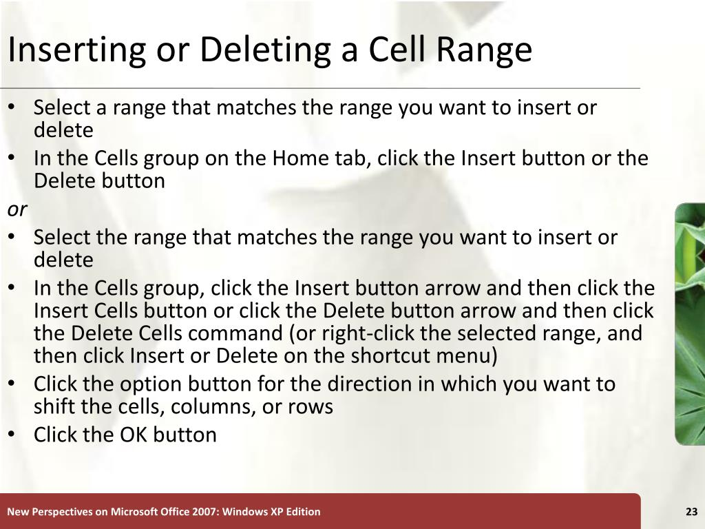 Inserting or Deleting a Cell Range