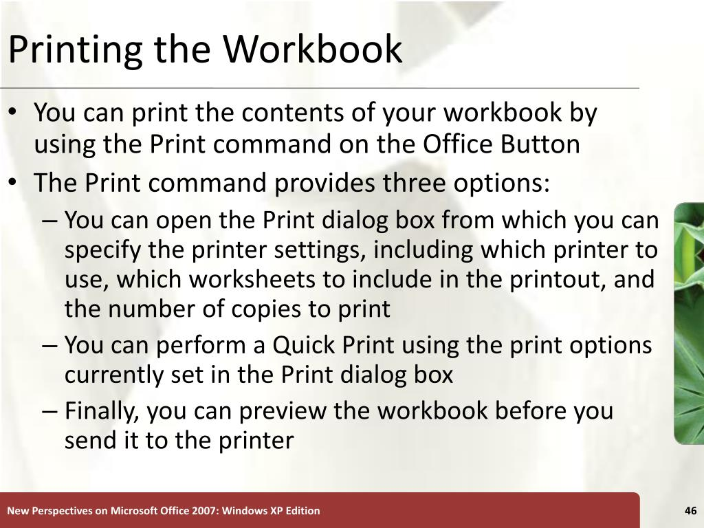 Printing the Workbook