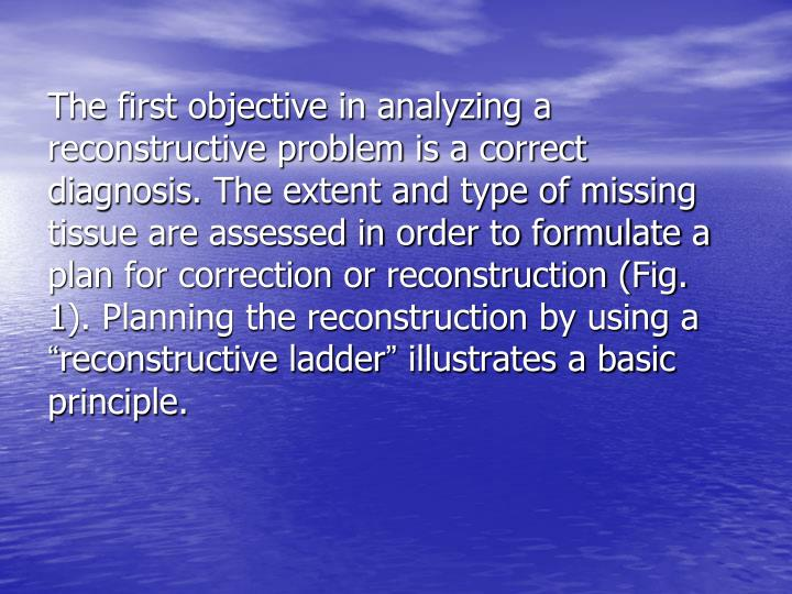 The first objective in analyzing a reconstructive problem is a correct diagnosis. The extent and typ...