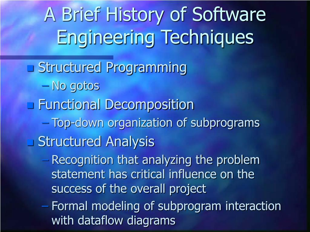 A Brief History of Software Engineering Techniques
