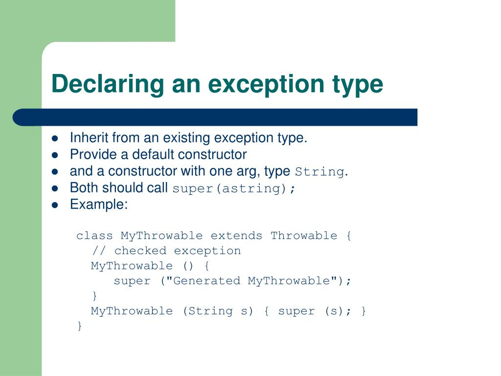 Declaring an exception type
