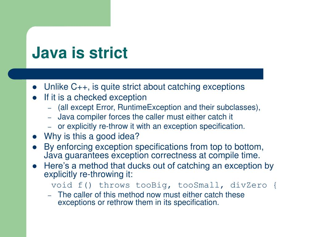 Java is strict