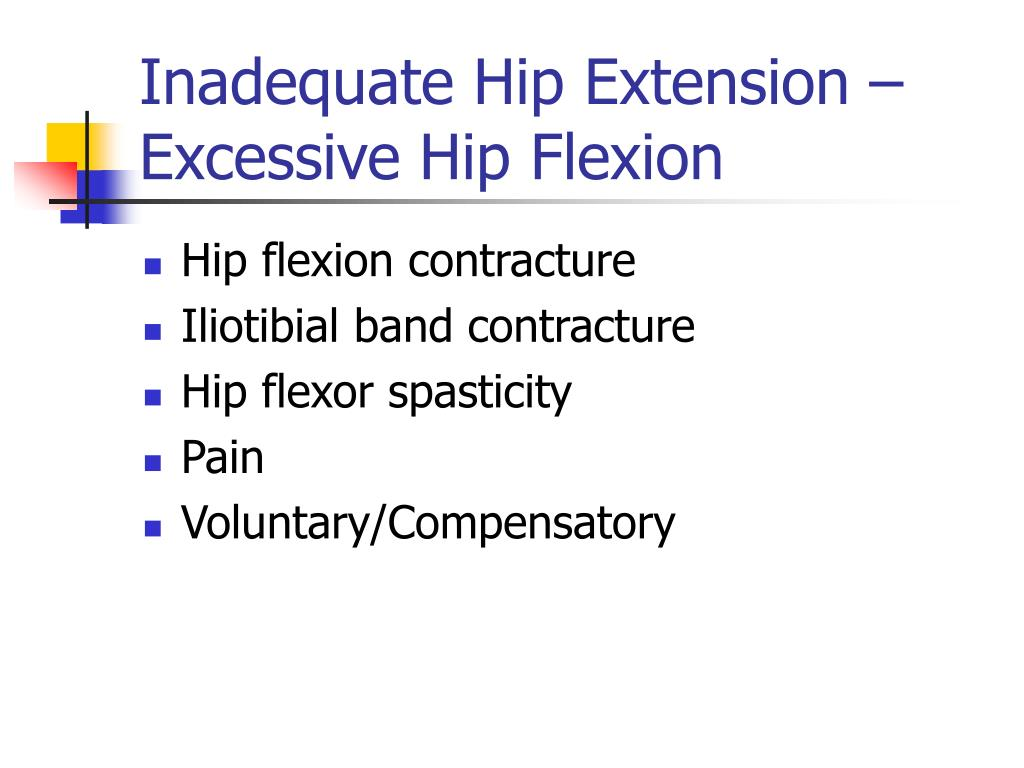 Inadequate Hip Extension – Excessive Hip Flexion