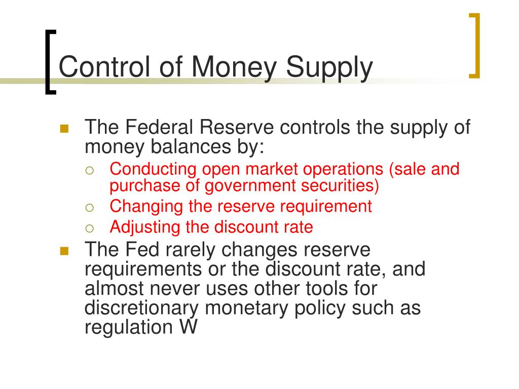 Control of Money Supply