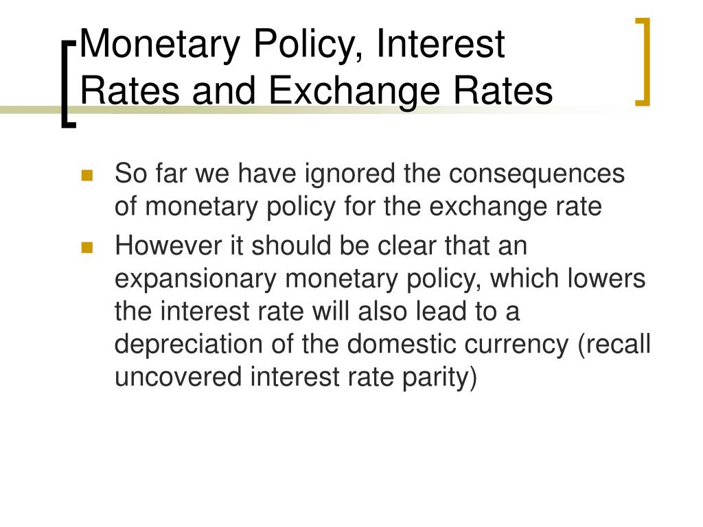 Monetary Policy, Interest Rates and Exchange Rates