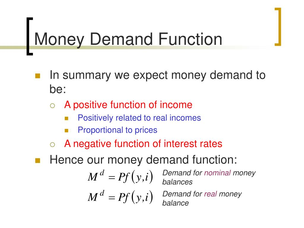 Money Demand Function