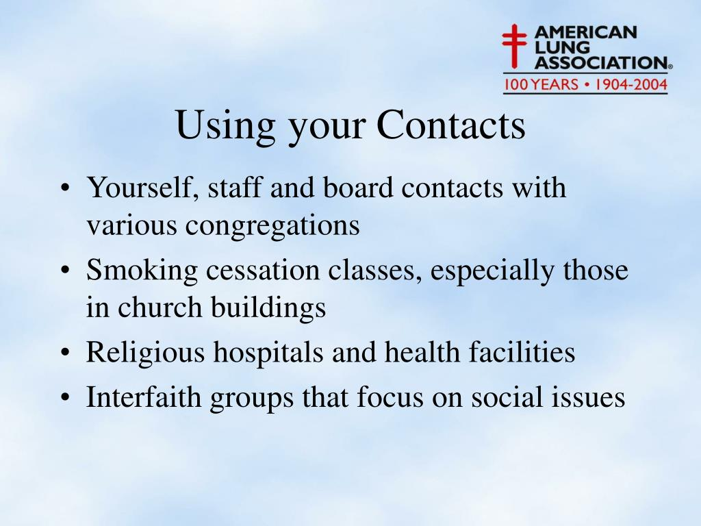 Yourself, staff and board contacts with various congregations