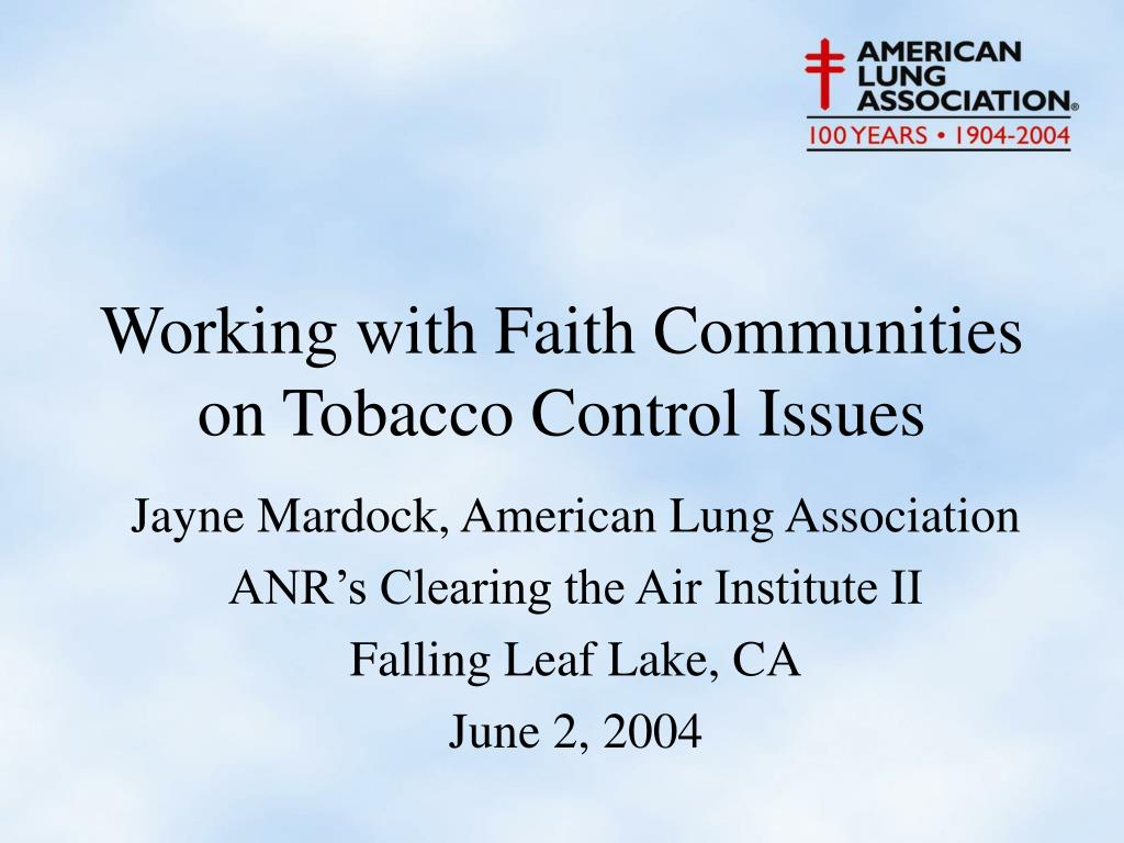Working with Faith Communities on Tobacco Control Issues