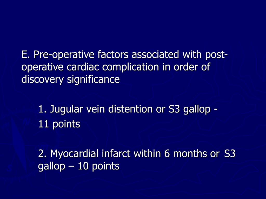 E. Pre-operative factors associated with post-operative cardiac complication in order of discovery significance