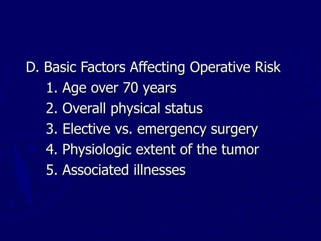 D. Basic Factors Affecting Operative Risk