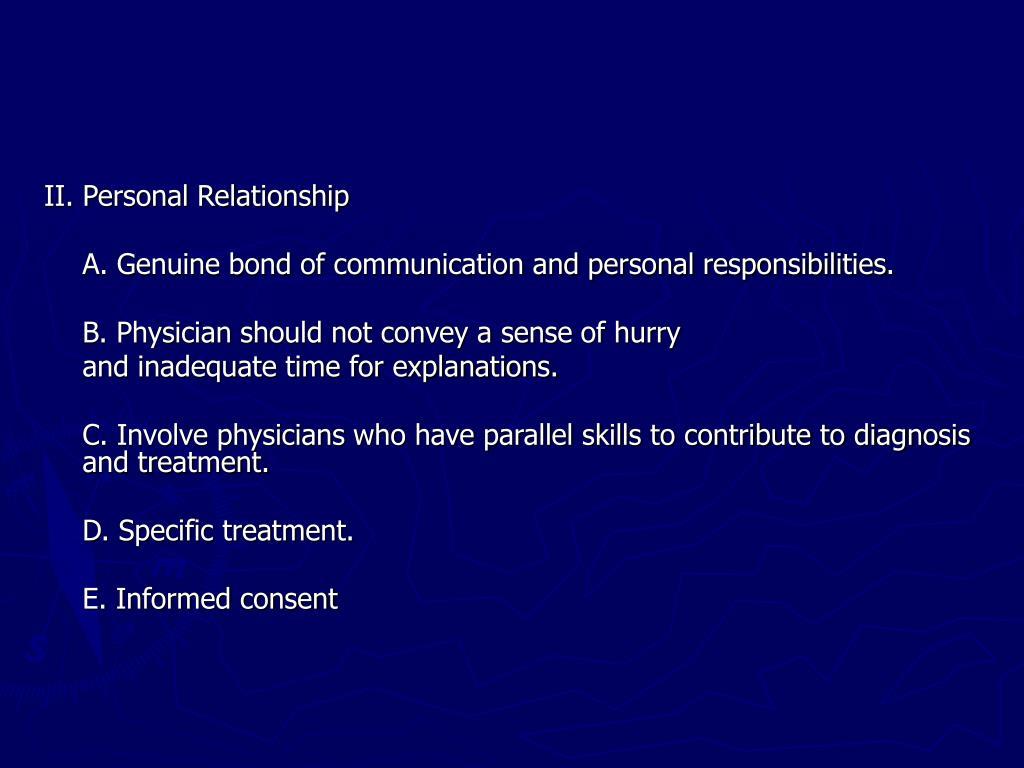 II. Personal Relationship