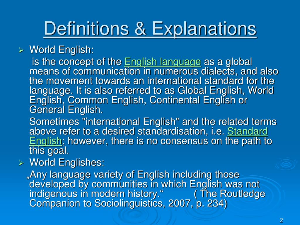 Definitions & Explanations