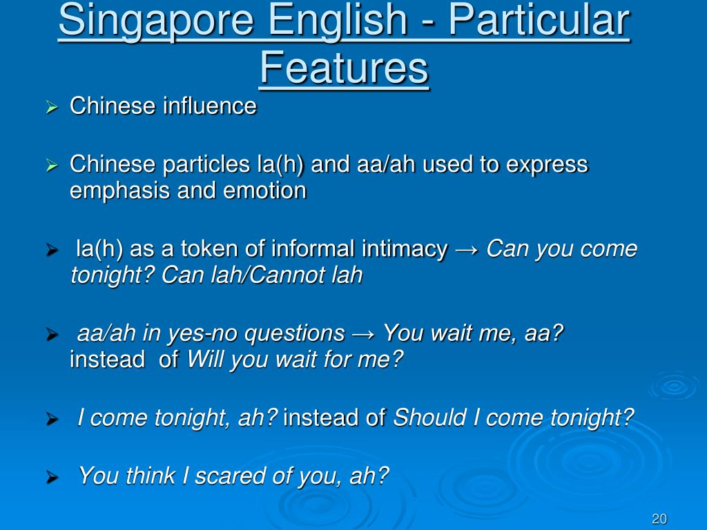 Singapore English - Particular Features