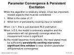 parameter convergence persistent excitation