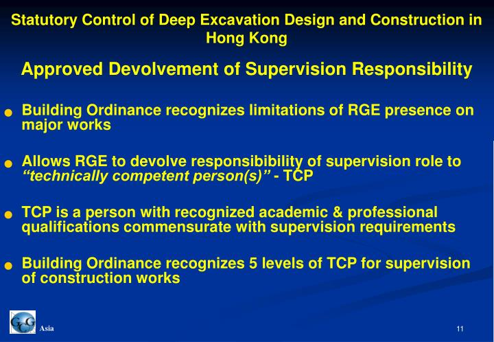 Statutory Control of Deep Excavation Design and Construction in Hong Kong