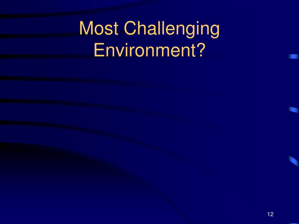Most Challenging Environment?