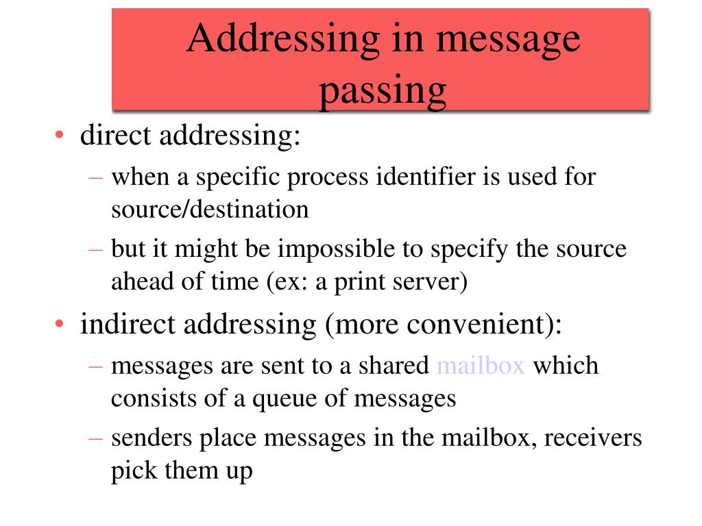 Addressing in message passing