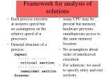 framework for analysis of solutions