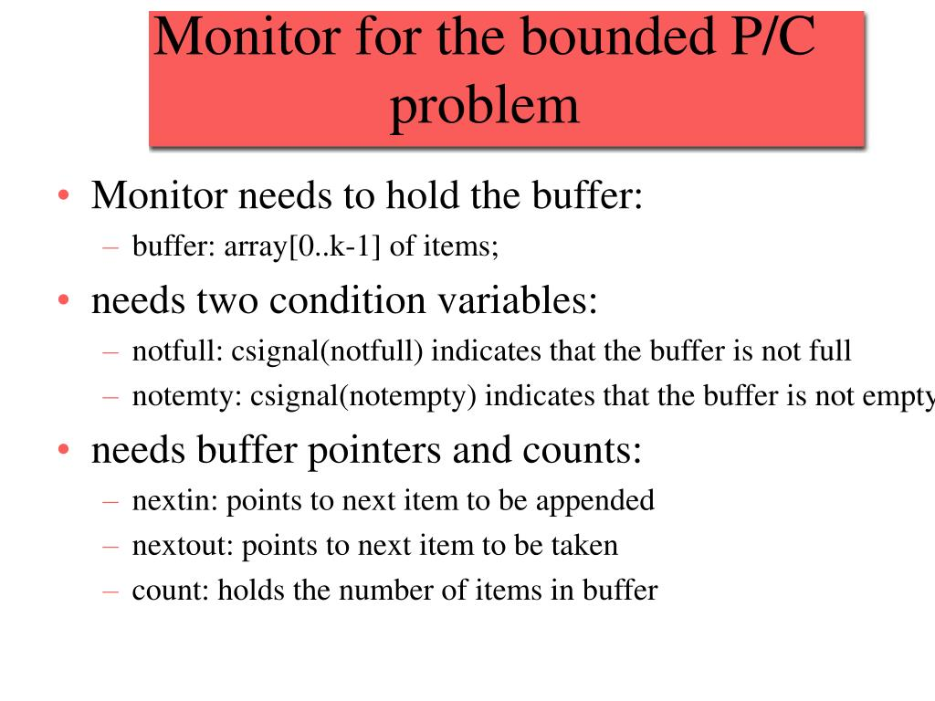 Monitor for the bounded P/C problem