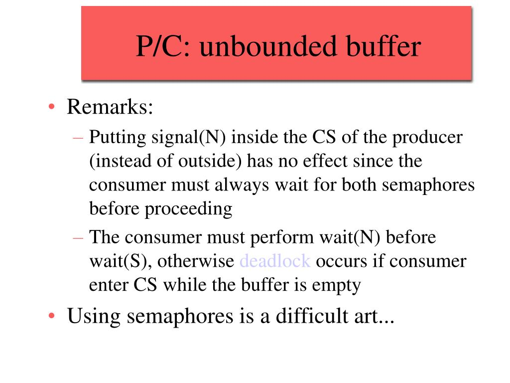 P/C: unbounded buffer