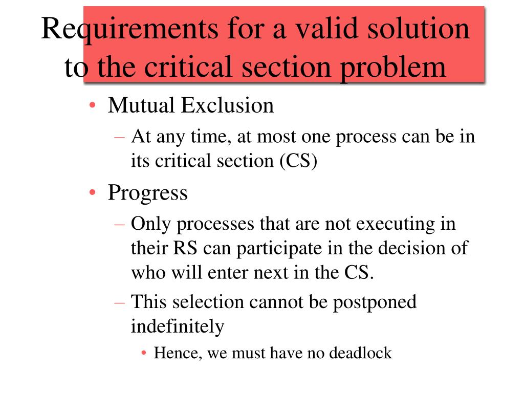 Requirements for a valid solution to the critical section problem