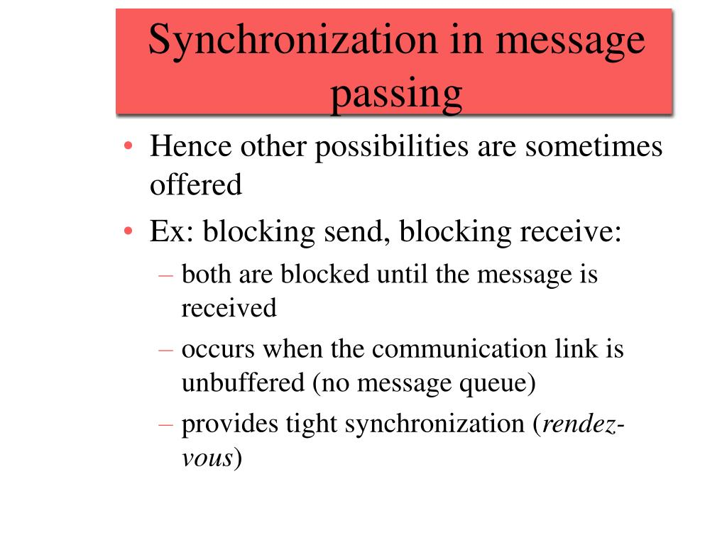 Synchronization in message passing