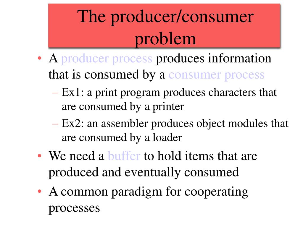 The producer/consumer problem