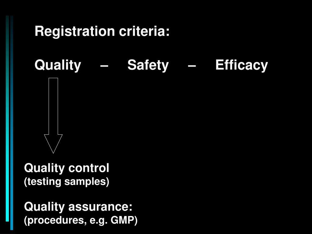 Registration criteria: