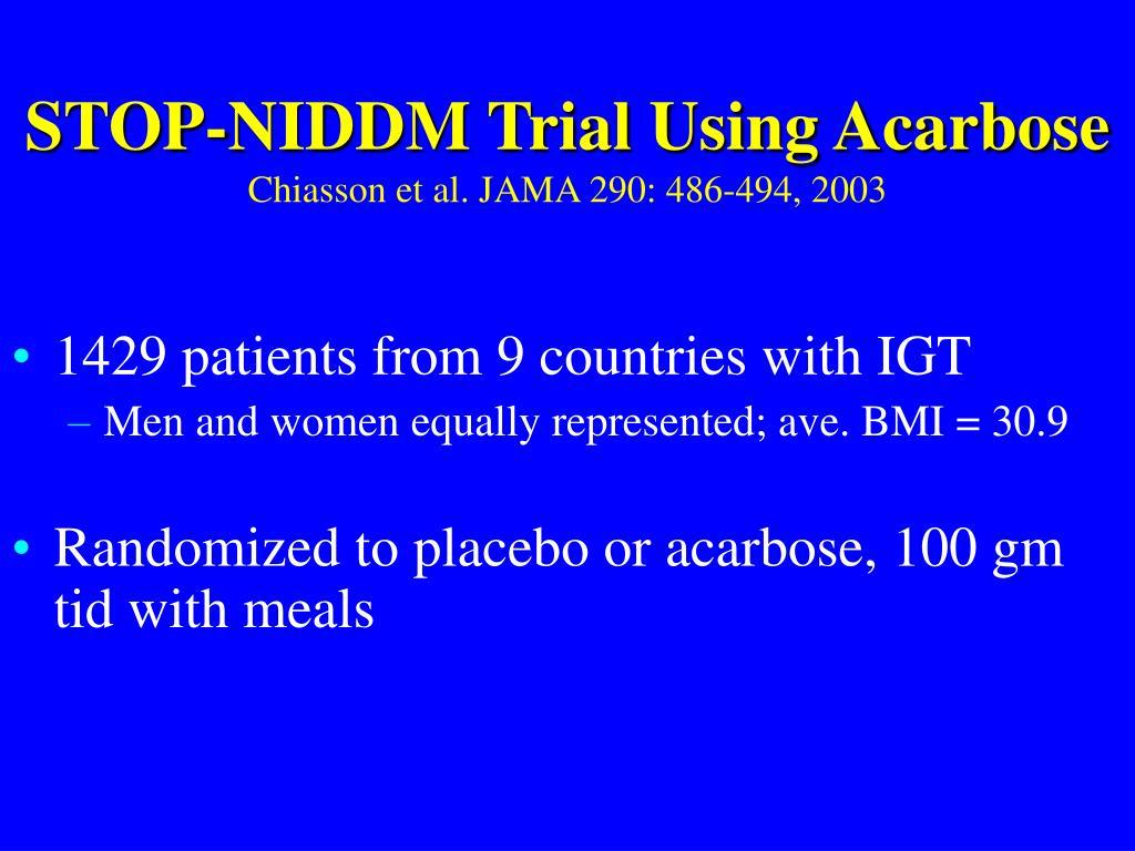 STOP-NIDDM Trial Using Acarbose