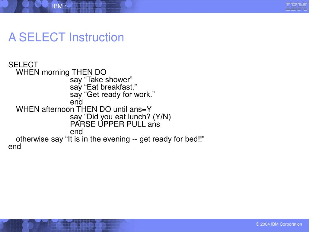 A SELECT Instruction