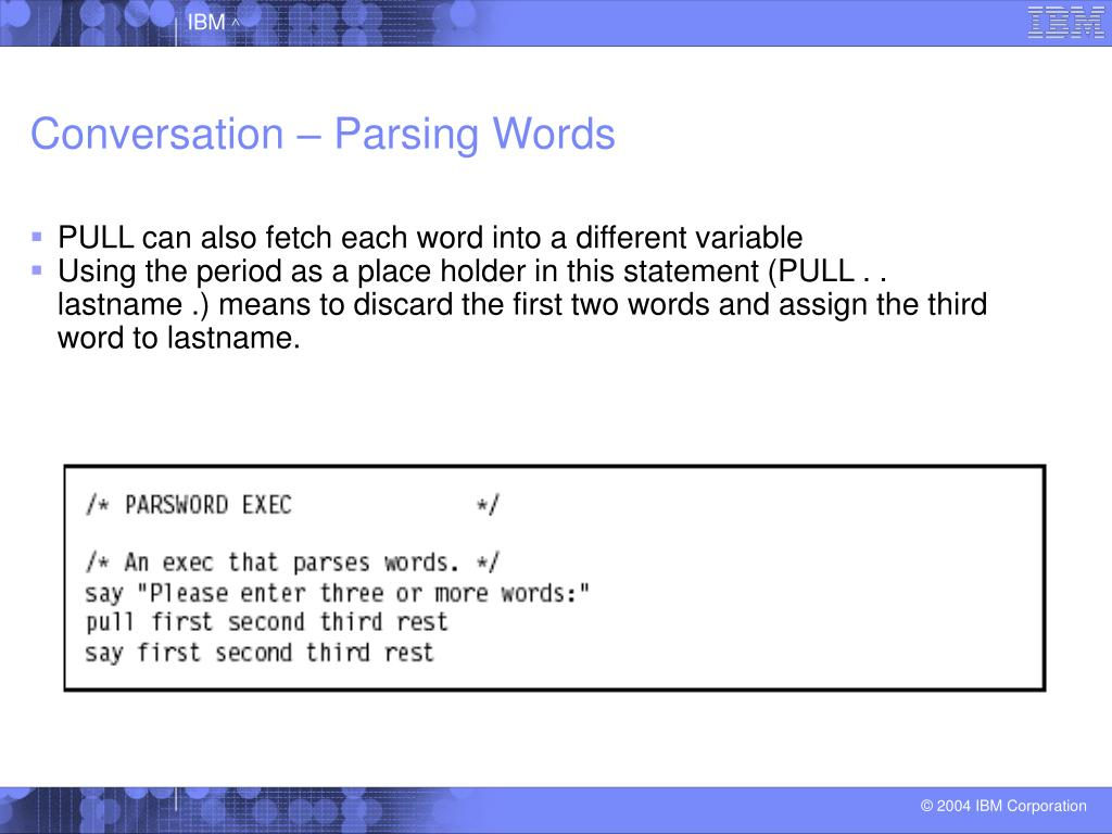 Conversation – Parsing Words