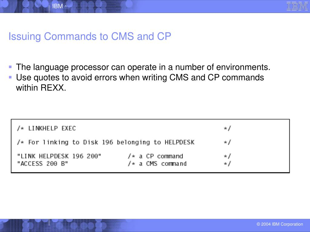 Issuing Commands to CMS and CP