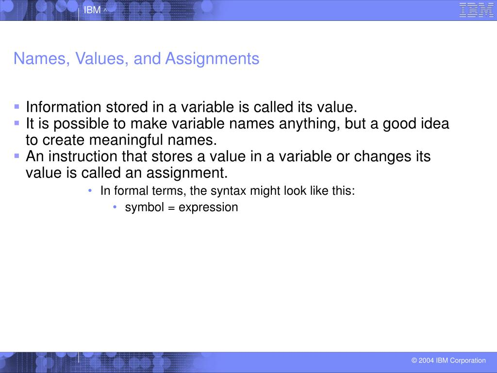 Names, Values, and Assignments