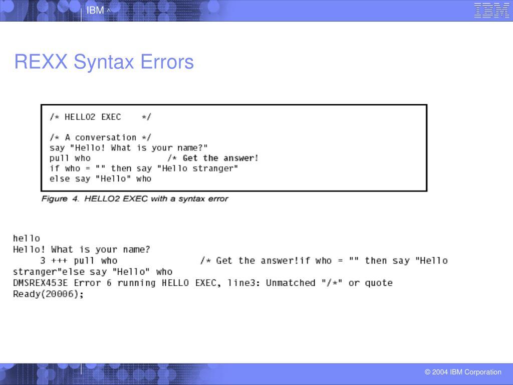 REXX Syntax Errors
