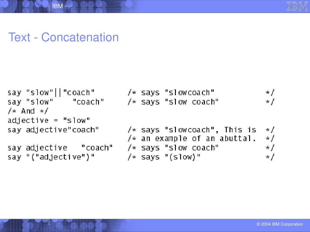 Text - Concatenation