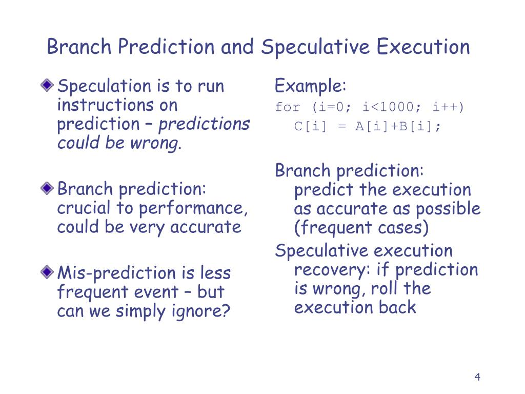 Speculation is to run instructions on prediction –