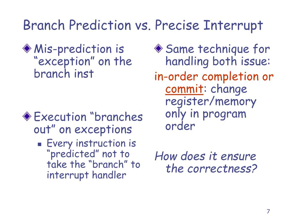 "Mis-prediction is ""exception"" on the branch inst"