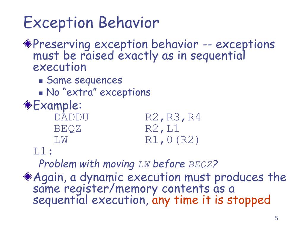 Exception Behavior