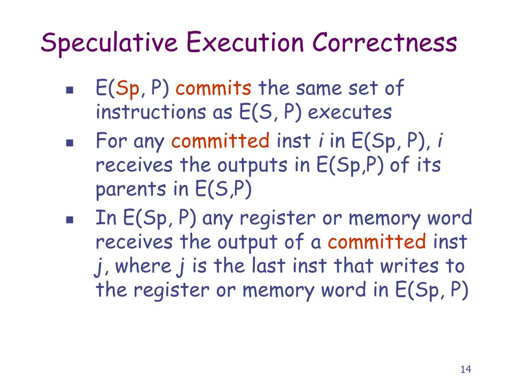 Speculative Execution Correctness