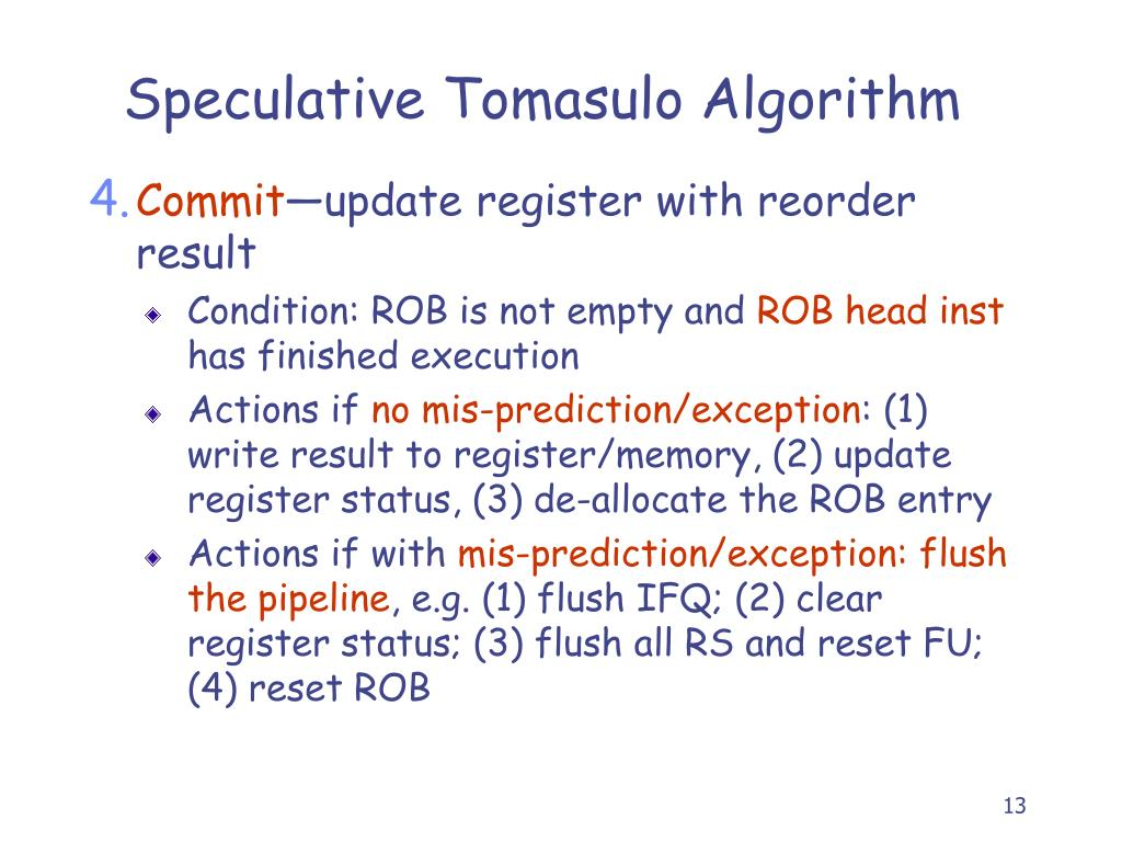 Speculative Tomasulo Algorithm