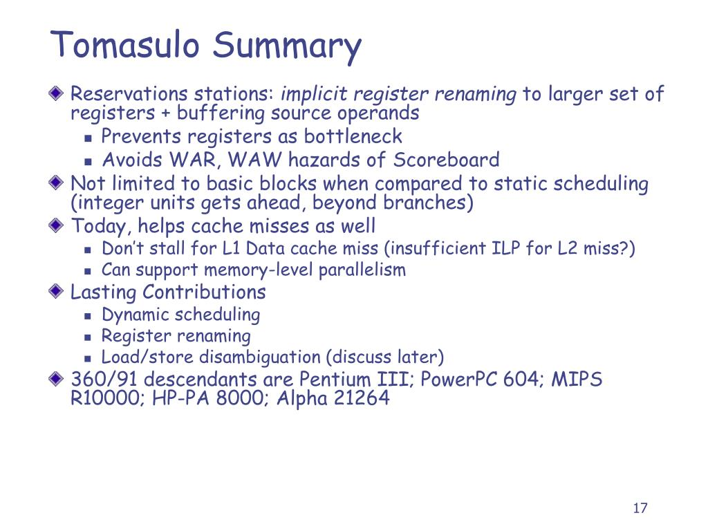 Tomasulo Summary