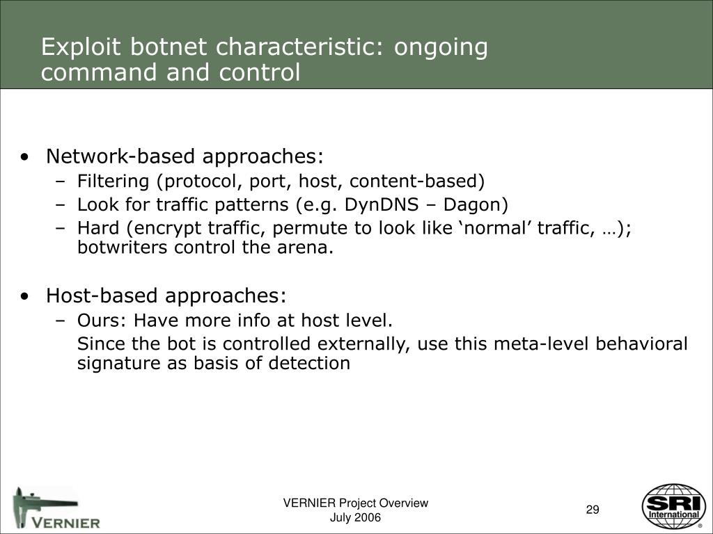 Exploit botnet characteristic: ongoing command and control