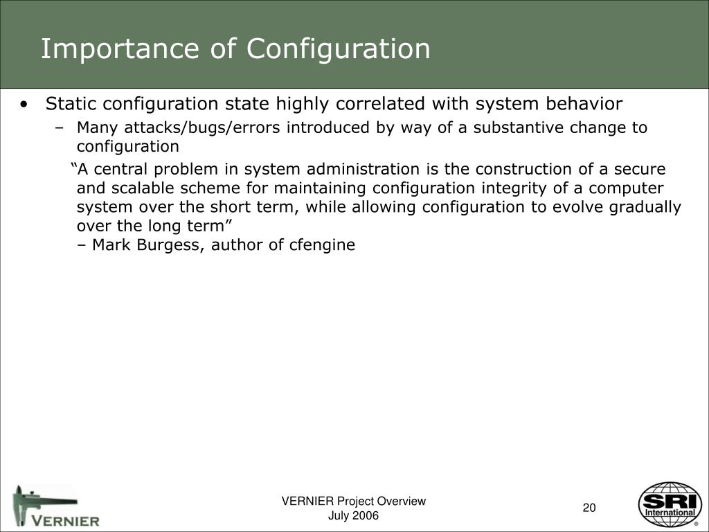 Importance of Configuration